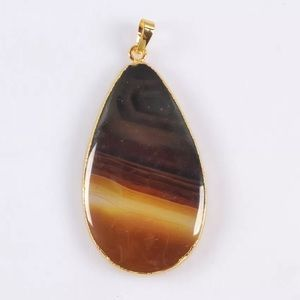 2/$20...Brown Onyx Agate Gold Necklace